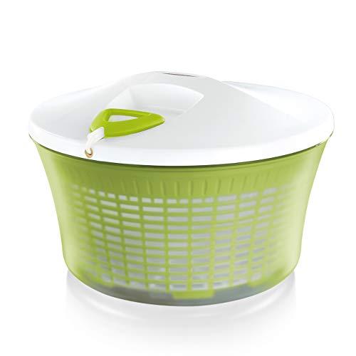 Leifheit Centrifugadora de lechuga ComfortLine, centrifugadora manual con mecanismo de giro en la tapa, escurridor de cocina con ensaladera y colador