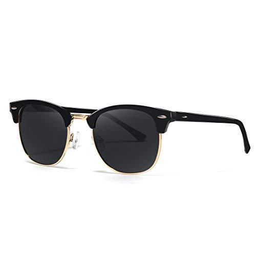 kimorn Polarizado Gafas de sol Unisex Retro Semi-Rimless marco gafas clásicas AE0550 (Negro&Oro, 52)