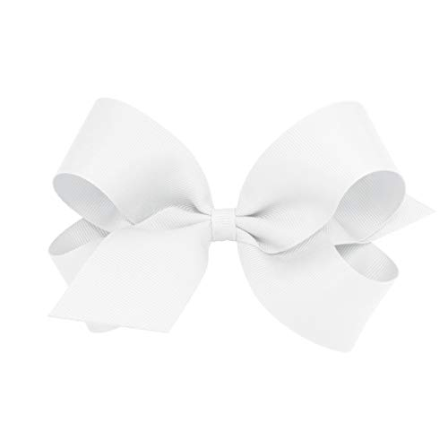 Wee Ones Baby Girls' Large Classic Grosgrain Hair Bow on a WeeStay Clip w/Plain Wrap - White