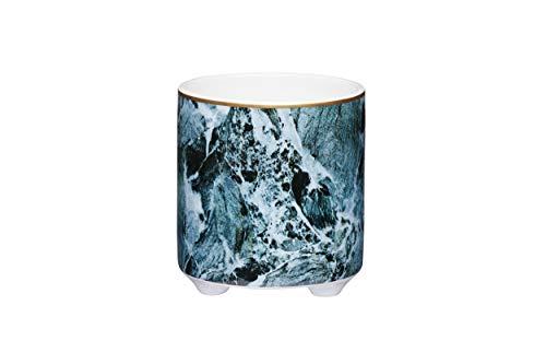 KitchenCraft Small Indoor Plant Pot, Decorative Green Marble Design, Ceramic, Green, 10 x 11 cm
