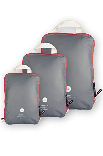 Nordkamm Pannier Bags with Compression Suitcase Organizer Blue or Grey Grey stone grey Set M, L, XL