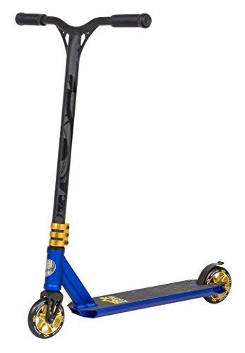 STAR SCOOTER Original Performance Freestyle Jump Pro Sport Alu Kickscooter Stuntscooter mit HIC Kompression in sehr stabiler Leichtbauweise für Kinder ab ca. 7 - 8 Jahre | 110mm Semi Professional Edition | Blau (matt) & Gold