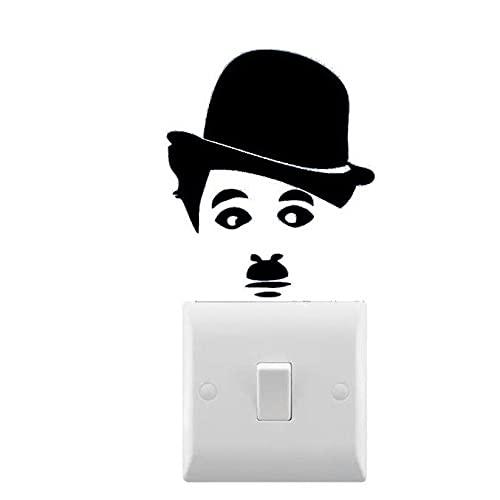 AiEnmaw Calcomanía de pared inspirada en Charlie Chaplin con interruptor de luz pequeño, vinilo extraíble para el hogar, luz Swith Decoración calcomanía 8 x 7 cm