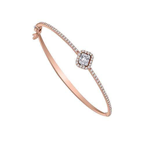 OMEGA JEWELLERY Pulsera con Brazalete de halo de Diamantes Reales con Forma de Baguette y 0,64 CT con certificación IGI en Oro Macizo de 10 Quilates (Oro Rosa)