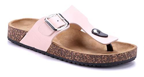 Schuhtempel24 Damen Schuhe Zehentrenner Sandalen Sandaletten rosa flach