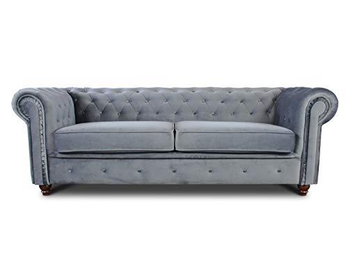 Sofa Chesterfield Asti 3-Sitzer, Couch 3-er, Glamour Design, Couchgarnitur, Sofagarnitur, Holzfüße, Polstersofa - Wohnzimmer, Velours (Grau (Velvet 10))