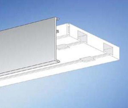 Easy-Shadow Gardinenschiene Vorhangschiene Gardinenbrett vorgebohrt für Deckenmonatge, PVC Kunststoff Weiss - Plastik Aufklips-Blende 5 cm Höhe - weiß