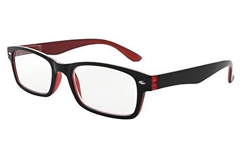 Kunststoff Fassung Lesebrille mit Federscharniere in Schwarz-Rot mit Brillenetui +2.00