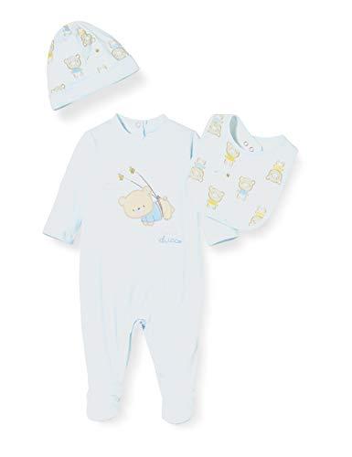 Chicco Baby-Jungen Scatola Regalo Bimbo: Tutina + Bavaglia + Cappello Playsuit, Türkis (Azzurro 021), 44 (Herstellergröße: 050)