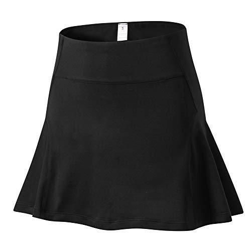 Shengwan Falda de Tenis Mujer Secado Rápido Deportivo Corto Vestidos Tenis Skorts Golf con Interior Shorts Negro 2XL