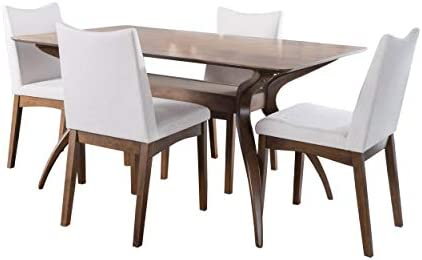 Christopher Knight Home Dimitri Fabric and Walnut Wood Dining Set Light Beige Walnut product image