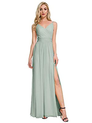 Alicepub V-Neck Bridesmaid Dresses Chiffon Long Prom Maxi Dress Formal Evening Gown, Sage Green, US8