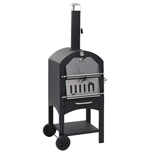vidaXL Charcoal Fired Outdoor Pizza Oven with Fireclay Stone Garden Cooker