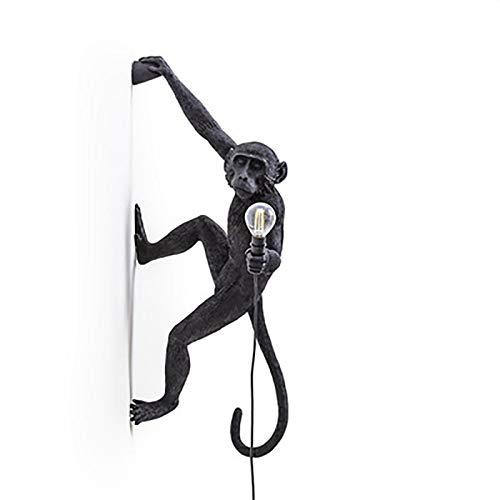 JSKK Industrial Apliques De Pared,Creativo Mono Iluminación De Pared,Instalación Retro Resina Lámpara De Pared,para Sala Niños's Dormitorio Cafe-Negro (14x28inch)