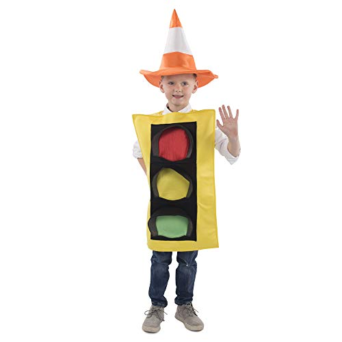 Dress Up America Traffic Light Costume and Safety Cone Hat Disfraz de semáforo y Sombrero de Cono de Seguridad, Multi, para Niños Mediano (8-10)/ Grande (12-14) Unisex Niños