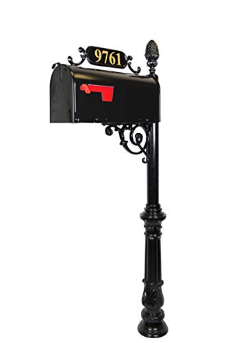 Addresses of Distinction Charleston Large Mailbox & Post System – Black Rust Resistant Mailbox – Includes Address Plaque, Numbers, Scroll & Mounting Hardware – Metal Mailbox with Pineapple Finial