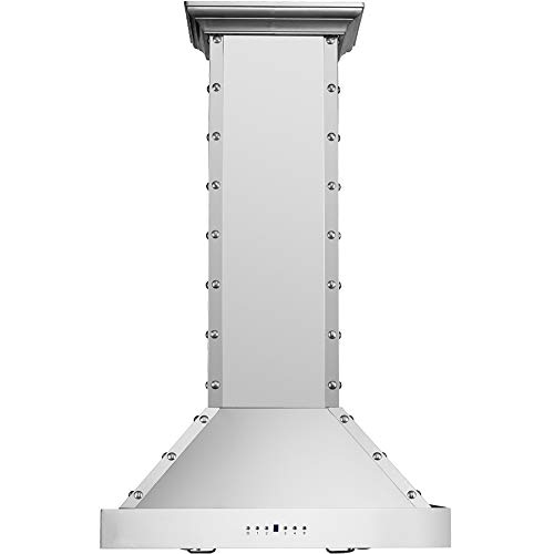 CAVALIERE Island Mounted Range Hood 30' Inch Kitchen Vent Fan in Brushed Stainless Steel- 4 Speed Soft-Touch Electronic Control Panel With LED Lighting, 900 CFM