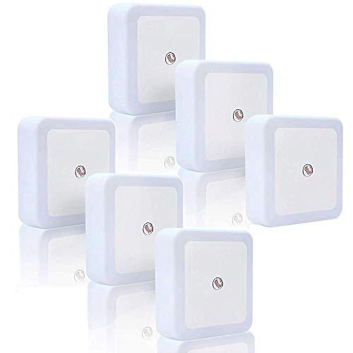 6 piezas Luz nocturna LED, enchufe de luz nocturna de ahorro de energía en la pared con sensor inteligente para el dormitorio Sala de estar Pasillos Escaleras (6 piezas Blanco cálido)
