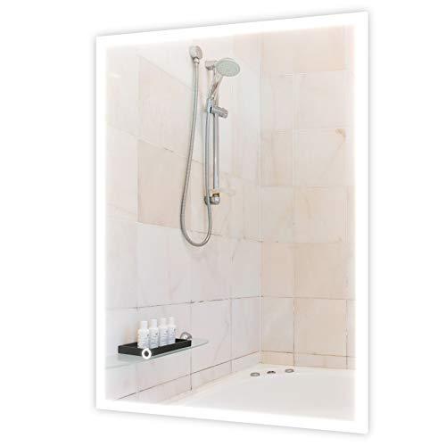 Homfa LED Badspiegel Badezimmerspiegel 80x60cm mit Beleuchtung Hängespiegel Wandspiegel Spiegel mit Berührung Sensorschalter Acryl Weiß