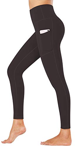Fengbay High Waist Yoga Pants, Pocket Yoga Pants Tummy Control Workout Running 4 Way Stretch Yoga Leggings Dark Coffee