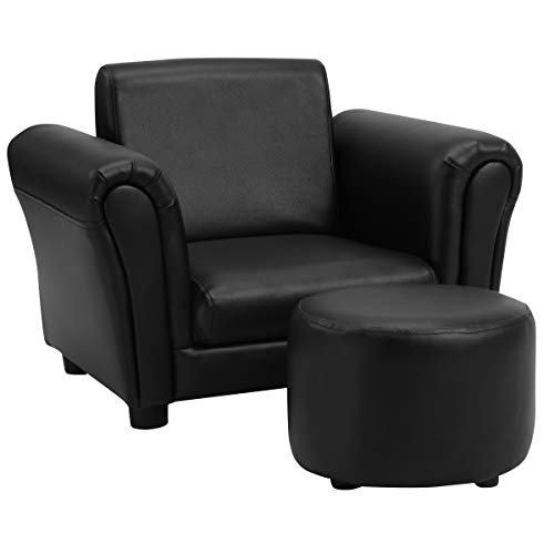 HONEY JOY Toddler Chair & Kids Sofa, Children Armchair with Ottoman Included, High Back Mini Couch with Footstool, Toddler Single Sofa Chair for Preschool Boy Girl (Black)