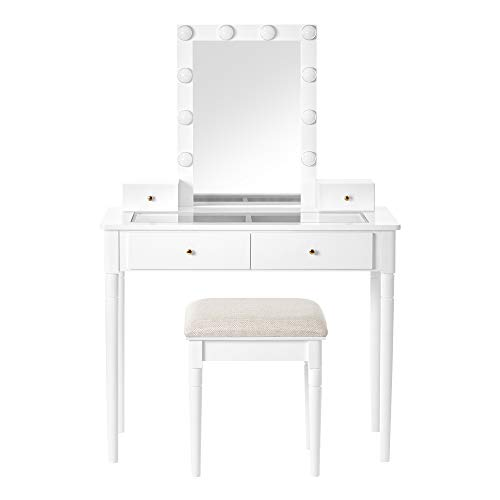 VASAGLE Vanity Set, Makeup Vanity Table with Mirror 10 Dimmable Light Bulbs, Cushioned Stool, 2 Large Drawers with Clear Tempered Glass Top and 2 Small Drawers, Gift Idea, White URDT172W01 Alaska