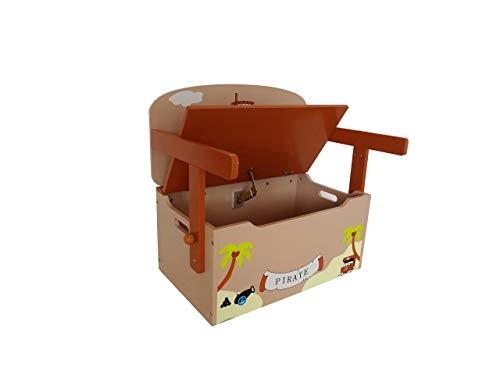 Bebe Style PRF1CTB Verwandelbare Spielzeugkiste + Tischbank + Stuhl - Holzkiste Aufbewahrung, braun - 3