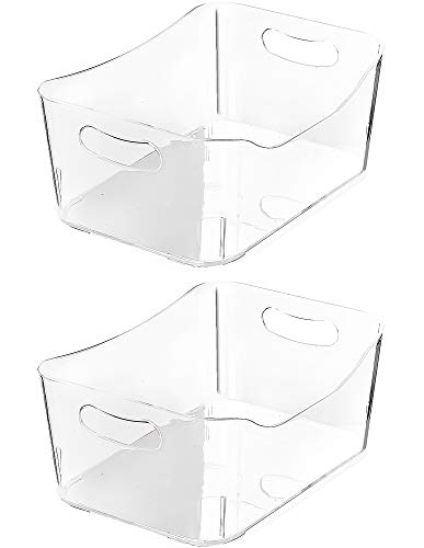 YBM HOME Open BIN Storage Basket Kitchen Pantry, Bathroom Vanity, Laundry, Health and Beauty Product Supply Organizer, Under Cabinet Caddy (Medium - 2 Pack, Clear)