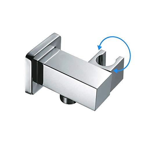 Supporto doccia regolabile in ottone, Supporto per Soffione Doccia Regolabile a 360°, Connettore Per Tubo flessibile per doccia, Cromato