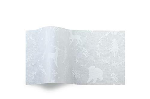 Woodland Critters Kerstmis Witte Dieren Weefsel suttons Gedrukt Gedessineerd Weefsel Inpakpapier Luxe 5 Vellen