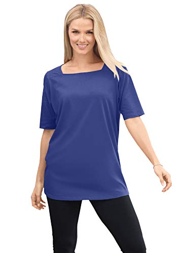 Woman Within Women's Plus Size Perfect Elbow-Sleeve Square-Neck Tee Shirt - 4X, Ultra Blue
