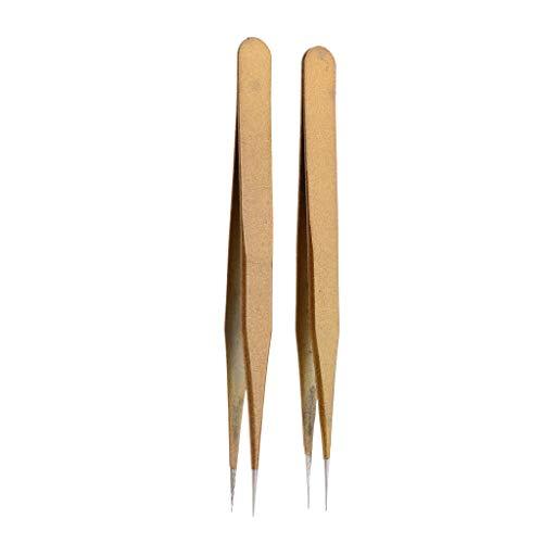 B Baosity 2pièces Pincette Incurvées pour Cils ou Pose de Strass Pince Coubée Extension de Cils Or - JS-10