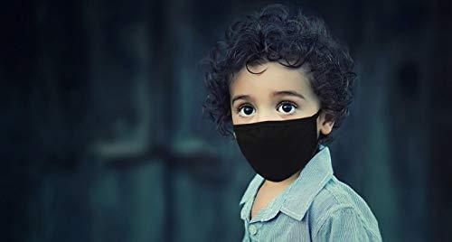 Kinder Stoffmaske hochwertige Mund-Nasen-Maske aus Baumwolle waschbar wiederverwendbar Masken (Schwarz)