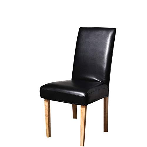 VLERHH PU stoelhoezen, kunstlederen stoelbeschermer, waterdicht en oliedicht, universeel stoelovertrek (PU massief patroon, set van 2)
