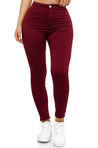 Elara Damen Jeans High Waist Slim Fit Chunkyrayan JS710-13 Wine 42 (XL)