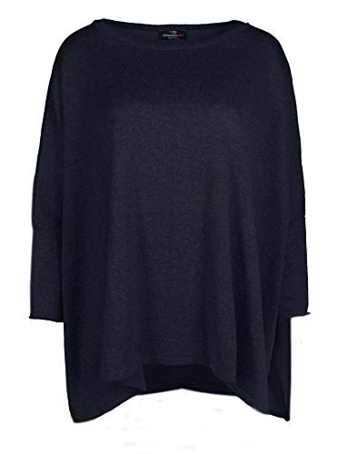 Zwillingsherz Poncho mit Baumwolle - Hochwertiges Cape im Uni Design für Damen Mädchen - XXL Umhängetuch und Tunika - Strick-Pullover - Sweatshirt - Stola für Frühjahr Sommer Herbst und Winter - NAV