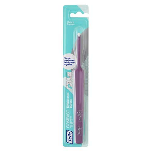 TePe Compact Tuft Einbüschelbürste / Zahnbürste mit rundem Bürstenkopf für eine gründliche Mundreinigung - auch bei Implantaten oder Prothesen, 1 Stück ,farblich sortiert
