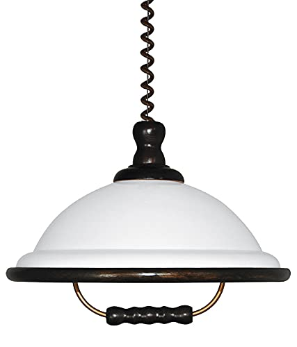 Lámpara de techo acrílica WOOD, color wengué y blanco, E27, 60 W, diámetro de 40 cm, altura de 110 cm, intensidad regulable, altura regulable