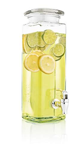 Mary´s Kitchen Tools Eckiger Getränkespender 2,5 Liter aus Glas | mit Zapfhahn | Retro Wasserspender | Limonadenspender | Saftspender | Bowle | Dispenser (2,5 Liter)