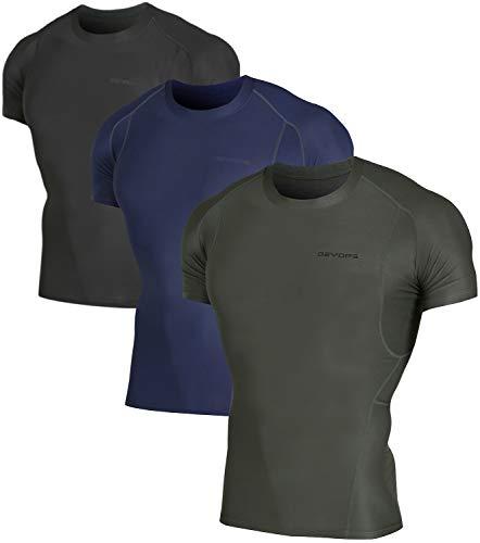 DEVOPS 3 Pack Men's Athletic Short Sleeve Compression Shirts (X-Large, Black/Navy/Olive)
