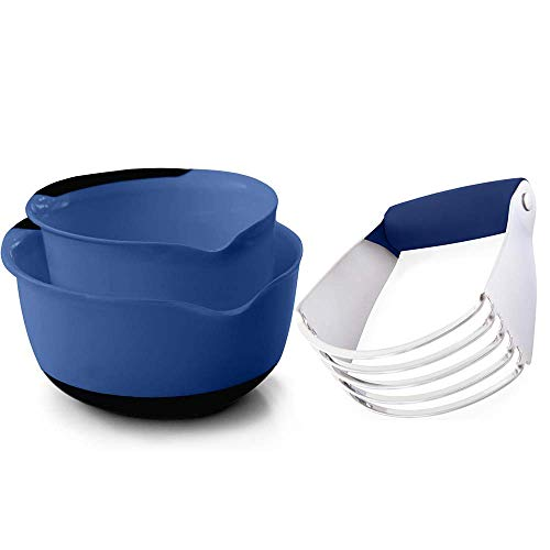 Gorilla Grip Mixing Bowl Set of two and Pastry Dough Blender, Both in Blue Color, Mixing Bowls Include 5 Quart and three Quart Sizes, Stainless Steel Pastry Blender, 2 Item Bundle