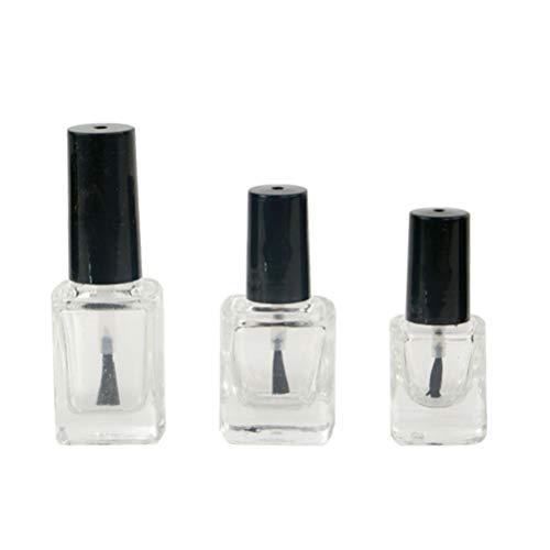 3 piezas de botella vacía de esmalte de uñas de vidrio cuadrado recargable claro contenedor de esmalte de uñas, en 3 Tamaño (5 ml, 10 ml, 15 ml)