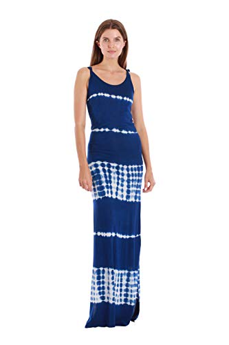 Riviera Sun Tie Dye Braided Strap Long Dresses 25003-E-BLU-L