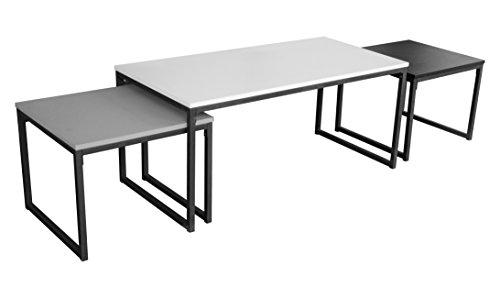 Square set 3 salontafels design wit zwart grijs onderstel metaal 100 x 50 x 45 cm en 47 x 38 x 45 cm