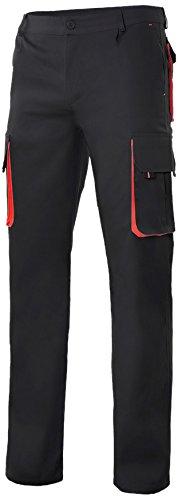 Velilla 103004/C0-12/T44 Pantalón multibolsillos, Negro y rojo, 44