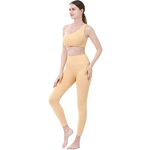 Tuta da Donna Set 2PCS Tinta Unita Sportiva Crop Top e Pantaloni Elastici Stretti per Palestra Pilates Yoga Fitness Allenamento Tuta Completa per Donna (Amarillo, S, s)