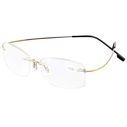 KOOSUFA Randlose Lesebrille Herren Damen Ultra Leicht Titan Rahmenlose Lesebrillen Lesehilfe Sehhilfe Arbeitsplatzbrille Anti Müdigkeit Brille mit Stärke1.0 1.5 2.0 2.5 3.0 3.5 4.0 (Gold, 1.0)