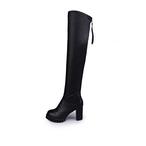 TAOtTAO - Morbidi stivali donna in pelle altezza al ginocchio, stivali alti da esterno, infilabili, elasticizzati, tacco alto, allungano la gamba, Gomma, Black, 38