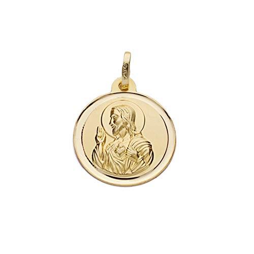 Medalla Oro 18K Escapulario 18mm. Virgen De Montserrat Corazón De Jesús Cerco Bisel