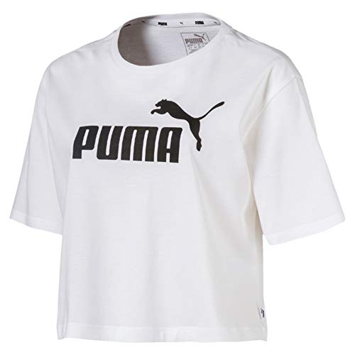 PUMA Damen ESS+ Cropped Logo Tee T-Shirt, White, M